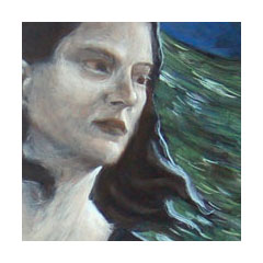 a painting of a pale woman looking with care out in front of a rising sea