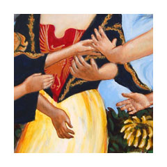 a painting of three women's hands reaching out to each other